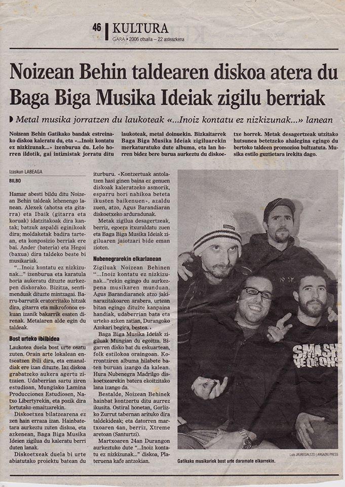 Noizean Behin eta Baga Biga GARA egunkarian 2006ko otsailean